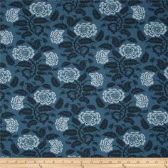 Liberty Of London Carnaby Jersey Knit Rosies Garden Blue/Black from @fabricdotcom  From the world famous Liberty Of London, this exquisite viscose jersey fabric is finely knitted, medium weight and ultra soft. This gorgeous fabric has a fluid drape and 50% four way stretch. It is perfect for T-shirts, tops, dresses and skirts. Colors include light blue, blue and soft black.