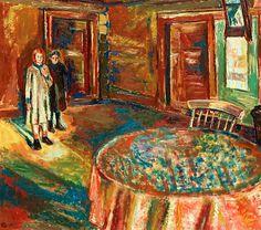 Girls in an interior - Henrik Sørensen , Norwegian, oil on canvas, 63 x 72 cm. Modigliani, Edvard Munch, Artists Like, Oil On Canvas, Interior, Inspiration, Girls, Expressionism, Norway