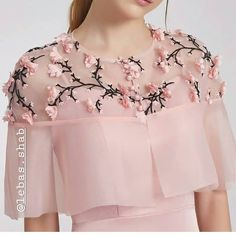 Cape with beautiful embroidery. Lve the colours n style for western formal look Cape with beautiful embroidery. Lve the colors n style for western formal look Kurti Neck Designs, Dress Neck Designs, Blouse Designs, Sleeve Designs, Stylish Dresses, Fashion Dresses, Sleeves Designs For Dresses, Indian Gowns Dresses, Prom Dresses