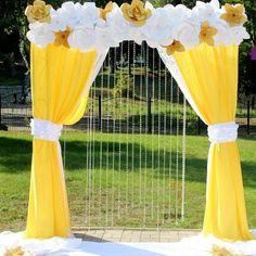 arca Wedding Backdrop Design, Desi Wedding Decor, Indian Wedding Decorations, Wedding Stage, Arch Decoration, Backdrop Decorations, Blue Yellow Weddings, Paper Flower Backdrop, Jolie Photo