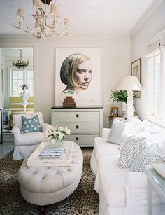 white and beige living room