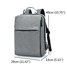 15.6 Inch Multi Pocket Dacron Backpack Solid Laptop Bag With Dual USB Charger & Rain-Proof Cover