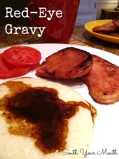 Gravy is a classic southern pan gravy made from country ham pan dripping. - Healthy meal ideas -Red-Eye Gravy is a classic southern pan gravy made from country ham pan dripping. Sauce Recipes, Pork Recipes, Cooking Recipes, Recipies, Smoker Recipes, Ham Steaks, Dips, Southern Recipes, Southern Food
