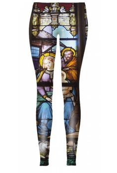 "$38 Stained glass will never go out of style. This time, decorative stained glass outlines are found on the leggings. You do not have to be a saint to wear the ""Sacrum Style""; a dignified approach to fashion style is enough."