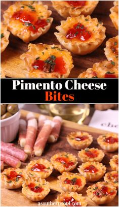 Crispy Phyllo cups filled with pimento cheese then topped with sweet, slightly spicy red pepper jelly makes for delicious appetizer for the holidays, game day or whenever you're entertaining! Cheese Appetizers, Appetizer Dips, Yummy Appetizers, Appetizers For Party, Appetizer Recipes, Snack Recipes, Pimento Cheese Recipes, Ham Recipes, Roast Recipes