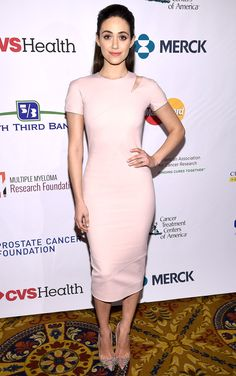 Emmy Rossum in a short-sleeve blush-tone Victoria Beckham midi dress, embossed Christian Louboutin pumps and a pretty pink lip at the Stand Up to Cancer event in N.Y.C.