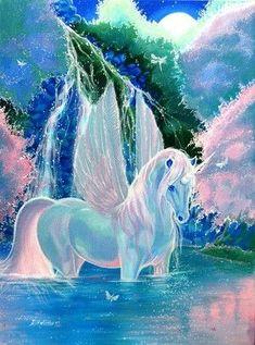Unicorn And Fairies, Unicorn Fantasy, Unicorn Horse, Unicorn Art, Fantasy Art, Rainbow Unicorn, Mythical Creatures Art, Mythological Creatures, Magical Creatures