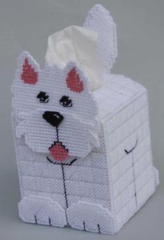 Plastic Canvas Tissue Box Patterns | ... Highland Terrier Tissue Topper-Plastic Canvas Plastic-Canvas-Kits.Com