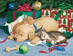 """""""TOO MUCH FUN"""" Original Acrylic Painting by Persis Clayton Weirs– Golden Retriever Puppy and Exhausted Kittens Sleeping Under Christmas Tree Looking at the ripped up packages and toys lying around it looks like they've had too much fun. Christmas Scenes, Christmas Animals, Christmas Cats, Christmas Pictures, Vintage Christmas, Christmas Holiday, Illustration Noel, Christmas Illustration, Cat Embroidery"""