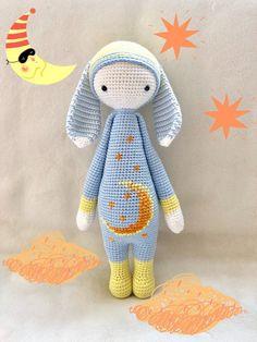 Excited to share this item from my shop: Moon & Stars Sleepy Bunny/ Easter Rabbit/ Lalylala Pattern/ Amigurumi Doll/ Chrochet Toy Crochet Amigurumi, Crochet Bunny, Amigurumi Doll, Crochet Animals, Crochet Dolls, Crochet Beanie, Handmade Dolls Patterns, Handmade Toys, Doll Patterns