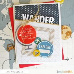 Wander - Scrapbook.com - Fun design and layers on this handmade card.
