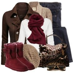 Doublju Women's Double Breasted Pea Coat Jacket~ the burgundy boots are so cute!