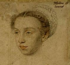 Claude of Valois. Duchess of Lorraine. Daughter of Henri II and Catherine de Medici ||  Claude was raised alongside her sister Elisabeth, future Queen of Spain, and sister-in-law Mary, Queen of Scots. She was married at the age of 11 to Charles III, Duke of Lorraine on 19 January 1559. Claude suffered from a hunchback and club foot. She died at 27 giving the birth to her 10th child.