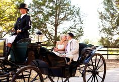 The bride and groom being whisked away on our antique carriage. #justmarried #carrigeride #wedding #carriage #couple #photo #elegant #GrandOaksResort