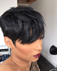 """How to style the Pixie cut? Despite what we think of short cuts , it is possible to play with his hair and to style his Pixie cut as he pleases. For a hairstyle with a """"so chic"""" and pointed… Continue Reading → Bob Hairstyles For Fine Hair, Short Pixie Haircuts, Short Hair Cuts, Short Hair Styles, Black Hairstyles, Pixie Cuts, Formal Hairstyles, Boy Haircuts, Hairstyle Men"""