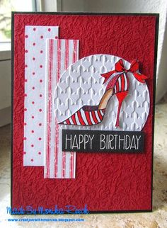 Creative With Monika: Shoe in Red card and A birthday card with pink and grey