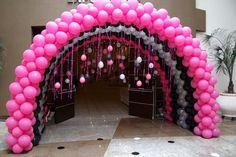 Chuva de prata de balões !! Para 15 anos !! Nic Festas & Decorações !!