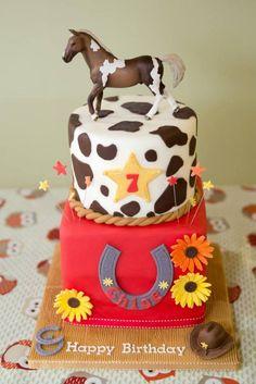 Cowgirl horse riding birthday cake