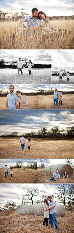E* session couple in a filed of long grass and hay bails