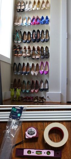 Use Tension Rods for Instant Shoe Organization is part of Organization Bedroom Tension Rods - Use Tension Rods for Instant Shoe Organization Click Pic for 25 DIY Small Apartment Decorating Ideas on a Budget Organization Ideas for Small Spaces Apartment Closet Organization, Budget Organization, Organizing, Diy Home Decor For Apartments, Apartment Decorating On A Budget, Apartment Ideas, Urban Apartment, Apartments Decorating, Apartment Living
