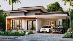 Modern Tropical House, Modern Small House Design, Modern Minimalist House, Single Storey House Plans, One Storey House, New Model House, Philippines House Design, Modern Entrance Door, Modern Bungalow House