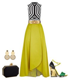 A fashion look from July 2015 featuring cutout tops, long yellow skirt and heeled sandals. Browse and shop related looks. Dressy Outfits, Skirt Outfits, Chic Outfits, Elegant Outfit, Elegant Dresses, Skirt Fashion, Fashion Dresses, Fashion Corner, Looks Chic