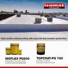Waterproof your terrace with high-quality materials of exceptional resistance, choosing the solution provided by ISOMAT! For highly demanding waterproofing, apply ISOFLEX PU500, the polyurethane, waterproofing liquid membrane for terraces, and ensure extra UV and weather protection in combination with the elastic, polyurethane coating TOPCOAT-PU 720. Liquid Waterproofing, Topcoat, Terraces, How To Apply, Weather, Building, Decks, Buildings, Top Coat