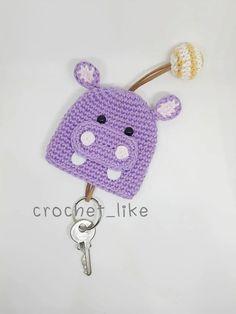 Hippo key cover by crochetlike on Etsy