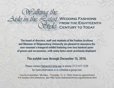 Walking the Aisle in the Latest Style: Wedding Fashions from the Eighteenth Century to Today  March 2016- December 2016 | SU Fashion Archives and Museum