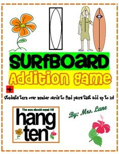 Surfboard Addition Game! (For Elementary)