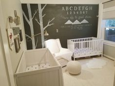 We have a 16 month old son and a newborn in a small two bedroom house. Our challenge was creating a shared nursery that still feels airy and open. We were also on a tight budget so almost every piece was either used or from Ikea.