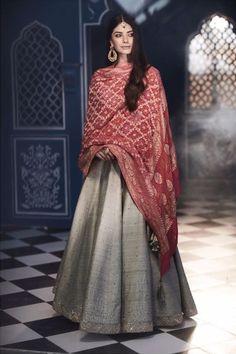Grey Matsya lehenga with red dupatta Wedding Guest Outfit Inspiration, Indian Dresses, Lehenga, Sari, Grey, Outfits, Fashion, Indian Gowns, Saree