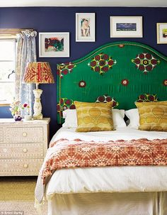 Willow and Charlie's bedroom layers rich jewel shades. 'I sourced the headboard fabric on ...