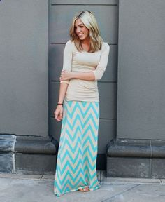 $22.99. Aqua and Tan Chevron Maxi Skirt.