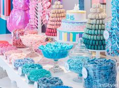 Dylan Lauren of Dylan's Candy bar has a candy baby shower. Like the ombre macarons