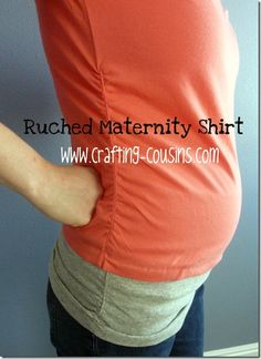 Sew your own maternity shirt with clearance rack tee shirts, or shirts from your own closet.  Check out the tutorial at Crafty Cousins.