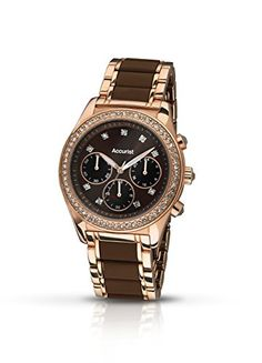 b437bcdc1 Accurist Women's Quartz Watch with Brown Dial Chronograph Display and Brown  Rose Gold Plated Stainless Steel
