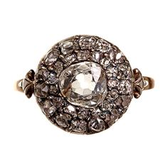 Georgian Old Mine Cut Diamond Cluster Ring | From a unique collection of vintage cluster rings at http://www.1stdibs.com/jewelry/rings/cluster-rings/