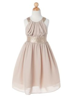 Champagne Chiffon Criss Cross Back Sequin Flower Girl Dress (Available in Sizes 2-14 in 6 Colors)