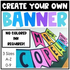 Banner Template {ALL CAPS} Easy to print black and white banners make classrooms bright and cheery! Use any colored paper to match your . Bulletin Board Letters, Classroom Bulletin Boards, Classroom Setup, Classroom Design, Kindergarten Classroom, Future Classroom, School Classroom, Classroom Organization, Classroom Management