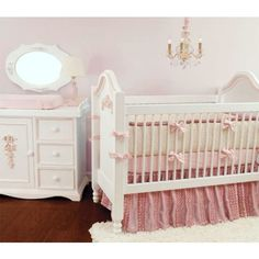 This classic nursery bedding would be a perfect addition to a little girls nursery.