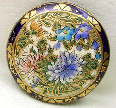 Antique Meiji Satsuma Button Fancy Colorful Flowers w Gold Accent Cobalt Border