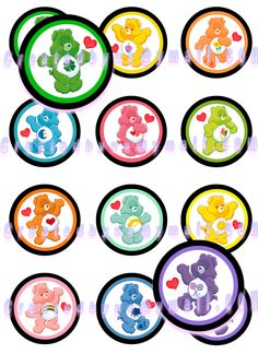 12 EDIBLE CARE BEARS - Cupcake Toppers - Cookie Toppers - Party Decorations Cake / Birthday Party - Wafer Paper - Oreos. $6.25, via Etsy.