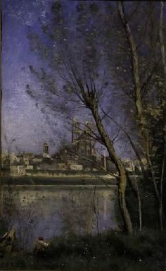 Jean-Baptiste-Camille Corot - C.Corot, Cathedral in Mantes / painting