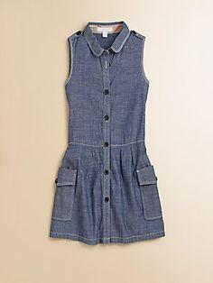 Burberry Little Girl's Drop-Waist Chambray Dress