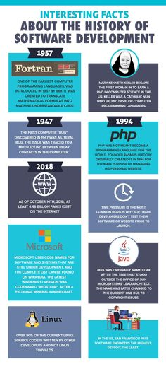 Custom software development isn't as boring as it sounds. In fact, there are several facts in its history that even a lay person would find interesting. Computer Programming Languages, 10 Interesting Facts, Software Development, Fun Facts, Infographic, Science, History, Infographics, Historia