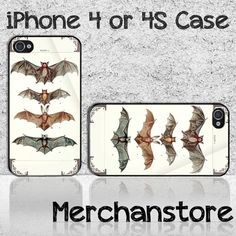 Vintage Bats Haunting Visions Stock Custom iPhone 4 or 4S Case Cover