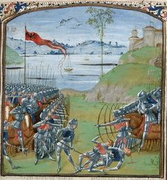 Detail of a miniature of a battle with archers and riders in armour, at the beginning of book 7, by the Master of the London Wavrin, from Bellum Gallicum (Les commentaires de Cesar), France (Lille) and Netherlands (Bruges), 1473-1476