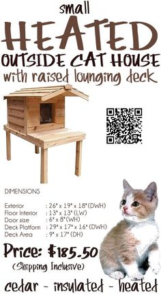 The Small Heated Outside Cat House with Raised Lounging Deck is designed to offer comfort to your cats. The elevated height protects the cats from all ground chill in wet conditions. The protruding porch roof shields the doorway from rain and melting snow. It has been individually hand crafted by expert craftsmen, from Canadian Northern White Cedar, the wood of choice for long-lasting outdoor use.- #outsidecathouse #outdoorcathouse #catoutsidehouse http://www.catbedandtoy.com/outdoorcathouse