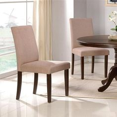 "Set of 2 Parson Dining Chairs - Contemporary Style Beige Finish by Poundex. $110.93. Set of 2 Parson Dining Chairs - Beige Finish. Some assembly may be required. Please see product details.. Dining and Kitchen. Dining and Kitchen->Seating->Parson Chairs. You will receive a total of 2 chairs. Dimension: 18""W x 20""D x 37""H Finish: Beige and Espresso Material: Wood and Microfiber Set of 2 Parson Dining Chairs - Contemporary Style Beige Finish Chairs are crafted from espresso fin..."